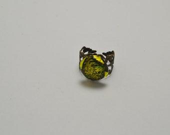 Yellow Dichroic Filigree Ring