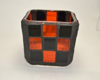 Black and Orange Checkered  mosaic candle holder,  Halloween candle holder
