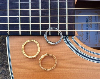 Mens Ring, Guitar String Ring Gold, Bronze or Silver - Handmade Unique Jewelry for Men