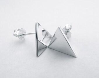 Sterling Silver Triangle Earrings - Silver Stud/Post Earrings