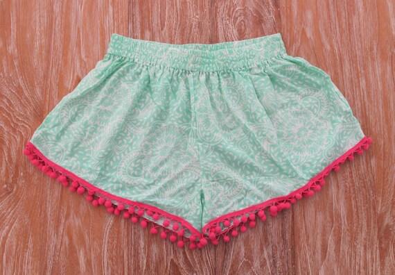 Pom Pom Shorts Mint Green Pattern With Large Hot Pink Pom