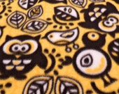 Handmade Fleece Pet Blankie with Fringe- black, white & yellow bird and owl pattern- Medium