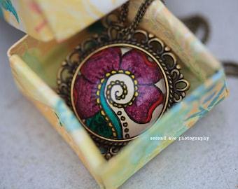 Vanda Flower Necklace - Hand drawn - Henna - Mehndi - Happiness - Flower