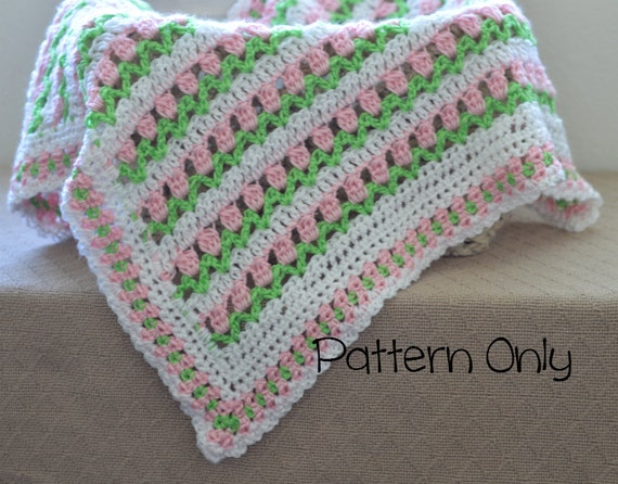 Beginner Crochet Patterns For Baby Blanket : Baby Blanket Crochet Pattern Baby Afghan Pattern Baby