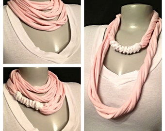 Pink with White Infinity Scarf, Handmade Scarf in Pink, Recycled Shirts, Repurposed Clothing