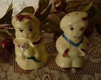 Vintage SHAWNEE POTTERY Children Salt and Pepper Shakers Late 1940s-early 1950s