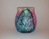 Decorative Glass Container, Potpourri, water beads, or fragrance oil holder. Shimmering leaf, Purple blue and green