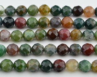 "15.5""  Indian Agate Faceted Round Bead, Mix Color 8MM ,  Fancy Jasper Bead"
