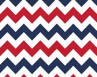 Patriotic Red/ White/ Navy Medium Chevron by Riley Blake - Yardage
