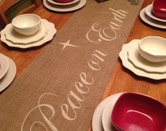 """Burlap Table Runner 12"""", 14"""", or 15' wide Christmas runner with Peace on Earth in center - Holiday decorating"""