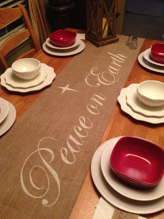 Burlap table runner 12 14 or 15 39 wide for Burlap christmas table decorations