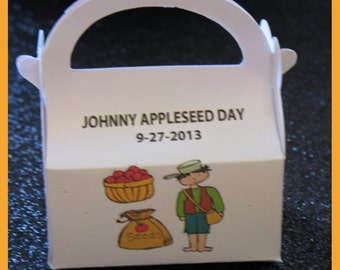 Johnny Appleseed favor, Johnny Appleseed party, Johnny Appleseed gift box
