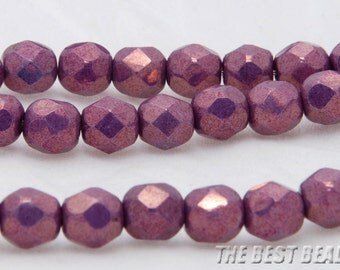 30pcs White with Purple Haze Faceted Round Fire Polished Czech Glass Beads 6mm