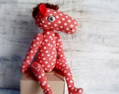 LAST ONE  Soft stuffed horse artist stuffed toy 13 inches red white polka dot animal jointed baby shower gift nursery decor