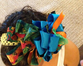 Big Beautiful Blue Hair Bow Clip Orange Greens Hairbow