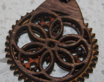 Circles Wooden Gear Pendant with moving gears and brass ball chain