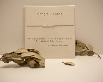 Congratulations - Sterling Silver Friendship Bracelet on Silk - Walnut
