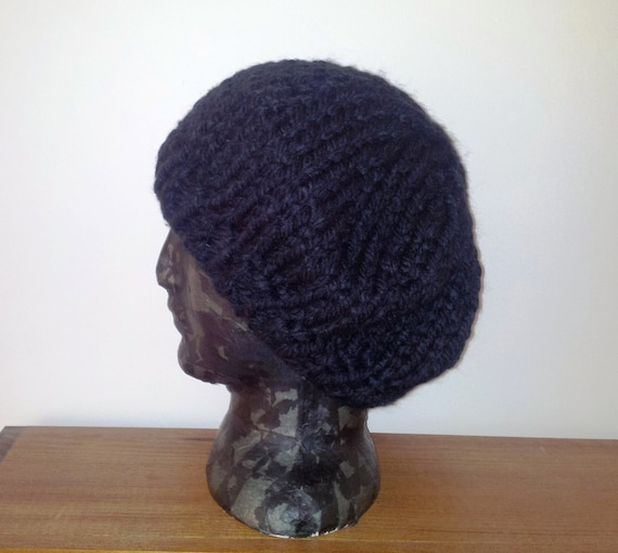 Knitting Pattern For Floppy Beanie : Slouch beanie. Black hat knit slouch hat black by GrannyJack