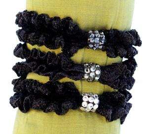 Black-scrunchie-ponytail holder-Swarovski elements crystal-rubber band-elastic-decorative hair tie