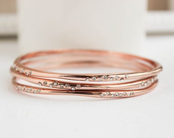 Rose Gold Bangles, Rose Gold Bracelet, Rose Gold Jewelry, Everyday Jewelry