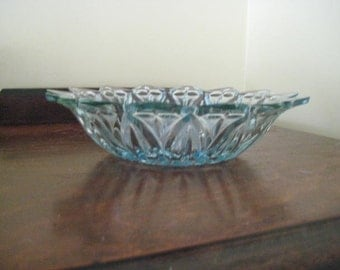 Blue Cut Glass Sunflower Bowl