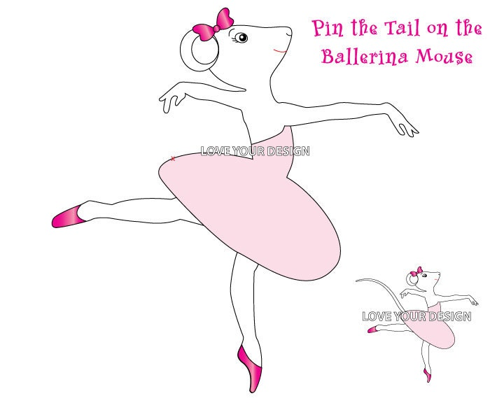 Pin The Tail On The Mouse Ballerina Game INSTANT DOWNLOAD Jpeg