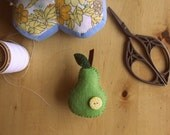 REDUCED PRICE ---  Pear brooch. Felt brooch/pin - green pear with a spotty button. Miniature food - pear jewellery.