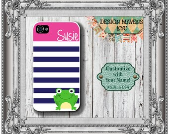 Preppy Frog Monogram iPhone Case, Personalized iPhone Case, iPhone 4, iPhone 4s, iPhone 5, iPhone 5s, iPhone 5c, iPhone 6, Phone Cover
