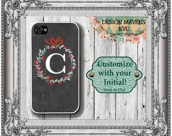 Holiday Wreath Monogram iPhone Case, Personalized iPhone Case, iPhone 4, 4s, iPhone 5, 5s, 5c, iPhone 6, 6 Plus, Phone Cover, Phone Case