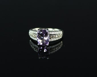 Closeout SALE- Stunning Amethyst Ring with Diamonds Set in White Gold, champagne, purple, wedding, cushion, checkerboard, anniversary