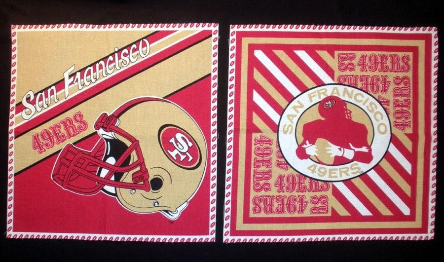 San Francisco 49ers Fabric Pillow Panel Quilt Block 2 Pieces