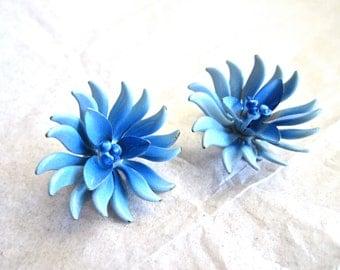 50-60s Blue Earrings Spike Flower Enamel Clip On