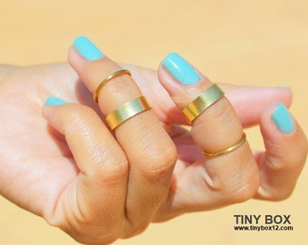 Gold Knuckle Ring - Midi Ring -  Stackable Ring Set  - Gold  Ring -  Rings -   Stacking Ring Set of 4 Rings by TinyBox12