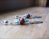 Beaded Southwestern Feather Earrings Red Jasper and Turquoise Crystal Beaded Earrings