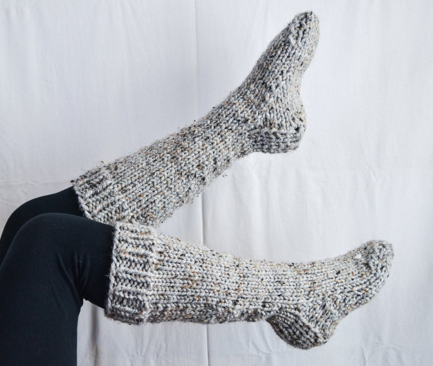 Knitting Pattern For Socks In Chunky Wool : Chunky knit knee high house wool socks in by OverdueMuse on Etsy