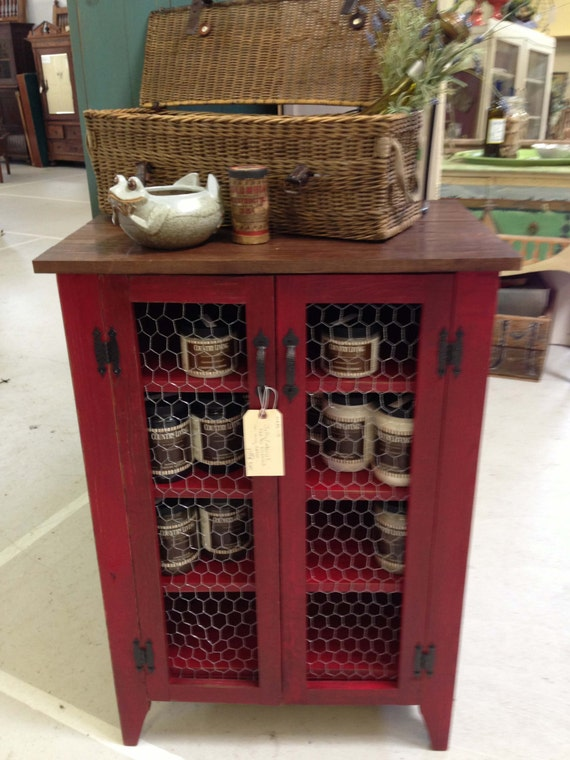 Items Similar To Jelly Cabinet In Barn Red With Stained