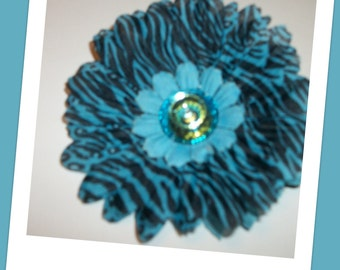 Blue  Black and Zebra Print Flower Hair Clip Handmade READY to Ship