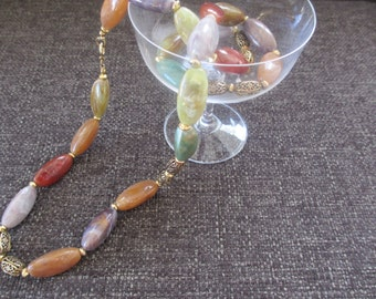 Multi-Colored Polished Stone Necklace