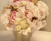 Floral Arrangement is soft shabby chic colors with handmade flowers, vintage laces.