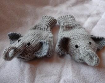 Hand Knit Children's Grey Elephant Mittens - size medium