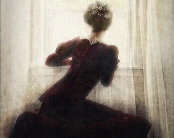 The Long Wait -- vintage styled photographic portrait, flower crown, lace curtains, vintage dress, window sill, burgundy velvet dress