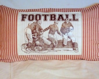 Vintage Football players - French Ticking Pillow Cover - Red Stripe - 12x22 - decorative pillow - Fathers Day Gift