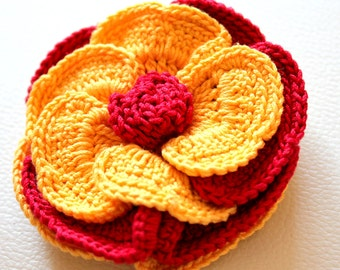 Yellow and Maroon / Red Crochet Flower Applique x 1