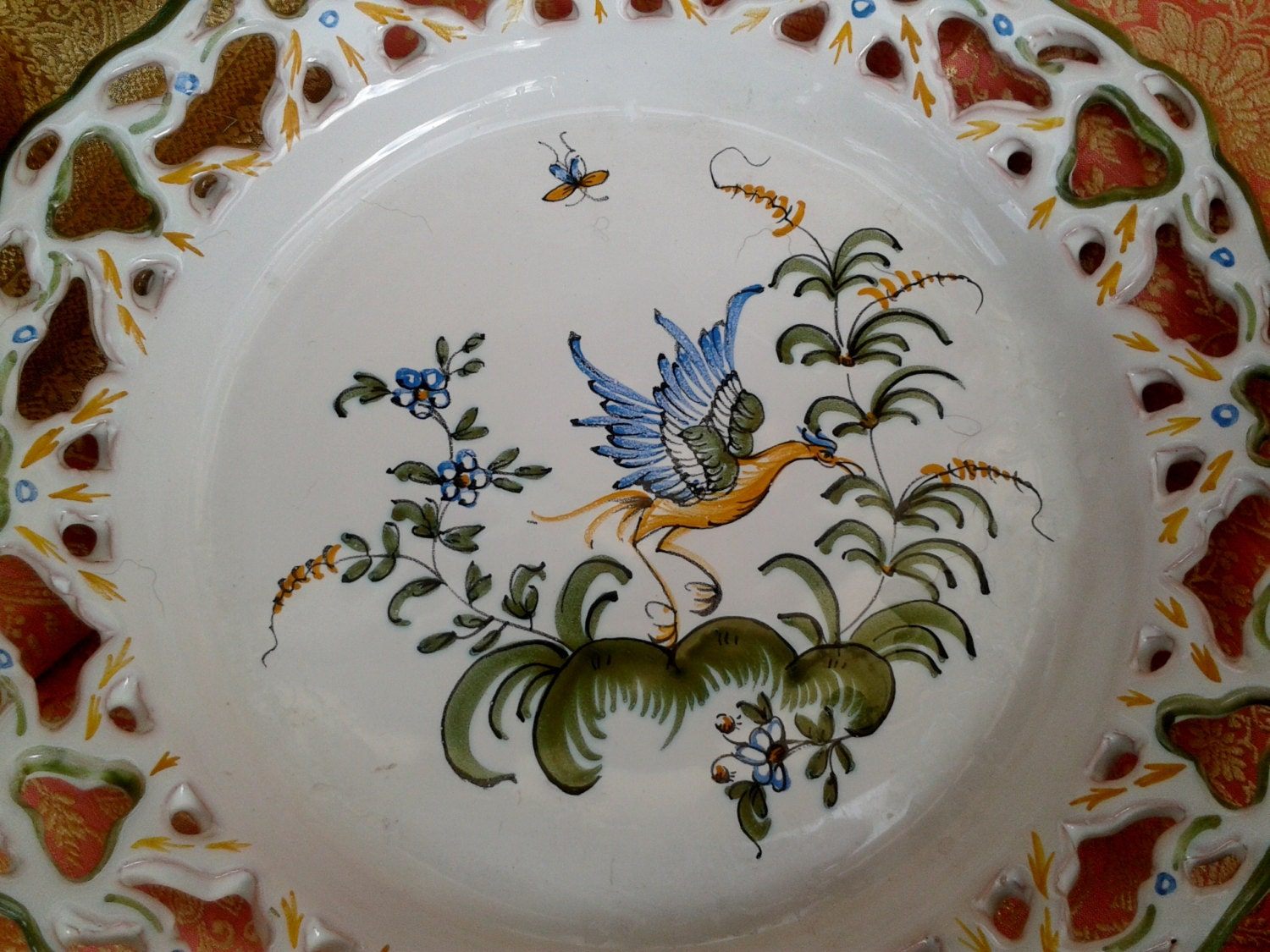 Lace Pie Dish Plate French Handmade Ceramic Hand Painted