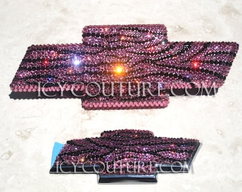 Crystal ZEBRA BLING CHEVY Bow Tie Emblems