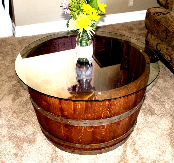 Wine Barrel Coffee Or End Table By Reclaimedwooddesigns On