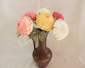 Wedding flowers,bridal bouquet,wedding peony 6pcs,paper flower bouquet,pink peonies,paper flowers,bridal flower,peonies bouquet,