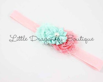 Coral & Mint Double Mini Shabby Chic Headband with Netting