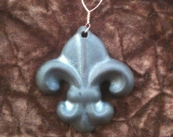 Fleur de Lis slate handmade Pottery Ornament