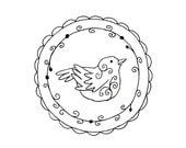 Bird Wreath Floral Embroidery Pattern Woodland Animal Digital Downloadable 0045